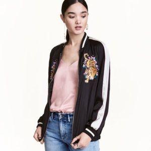H&M Divided embroidered tiger bomber jacket size 4